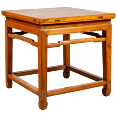Chinese Ming Dynasty Style Elm Waisted Side Table with Humpbacked Stretchers