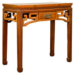 Chinese Ming Dynasty Style Elmwood Table with Single Drawer and Carved Apron