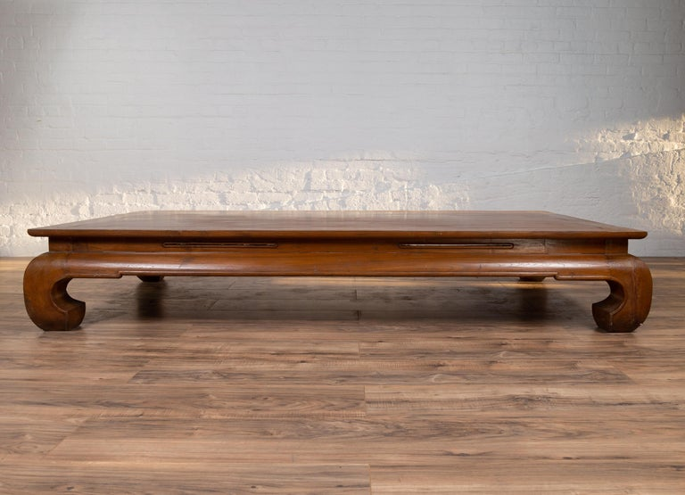 20th Century Chinese Ming Dynasty Style Kang Waisted Daybed with Natural Patina and Chow Legs For Sale