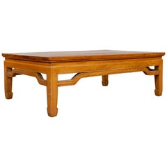 Chinese Ming Dynasty Style Natural Wood Coffee Table with Humpback Stretcher