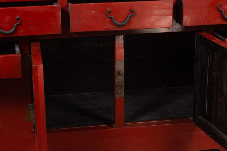 Chinese Ming Dynasty Style Red Lacquered Console Cabinet with Doors and Drawers For Sale 5