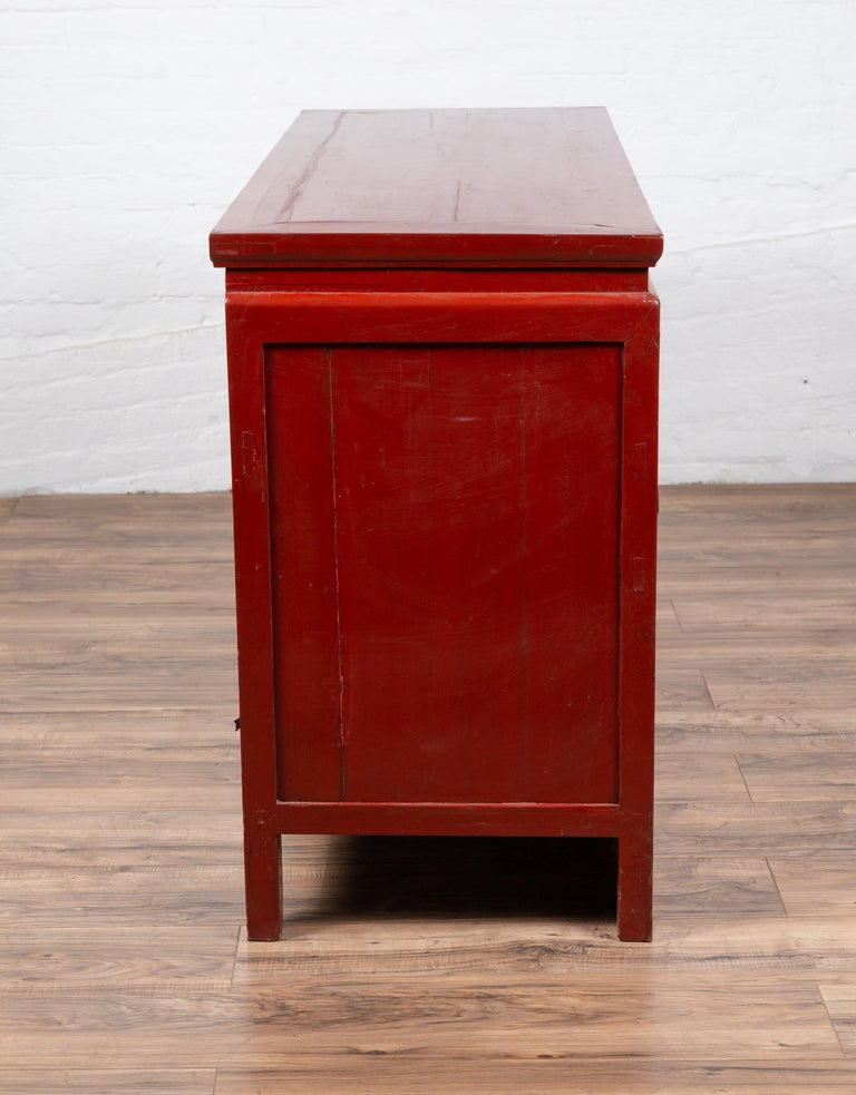 Chinese Ming Dynasty Style Red Lacquered Console Cabinet with Doors and Drawers For Sale 8