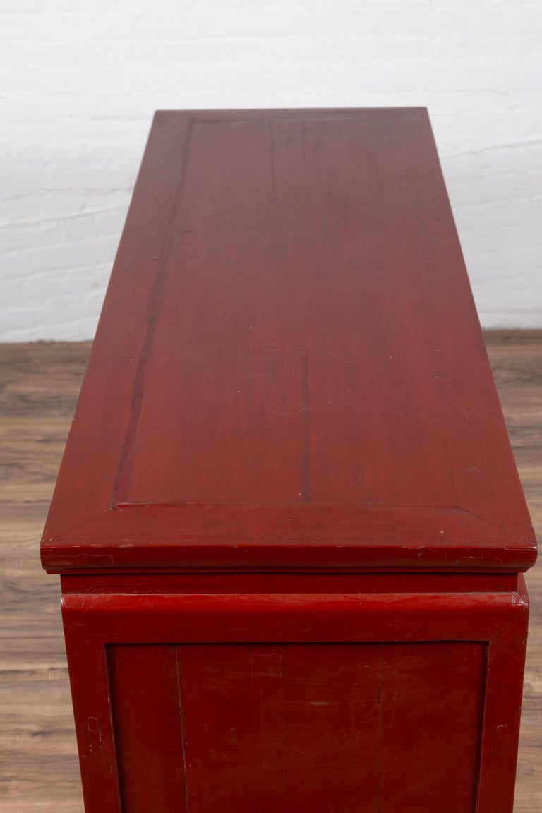 Chinese Ming Dynasty Style Red Lacquered Console Cabinet with Doors and Drawers For Sale 9