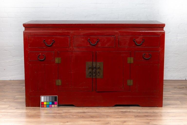 Chinese Ming Dynasty Style Red Lacquered Console Cabinet with Doors and Drawers For Sale 11