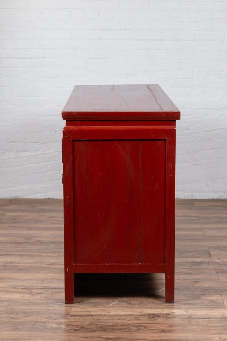 Chinese Ming Dynasty Style Red Lacquered Console Cabinet with Doors and Drawers For Sale 12