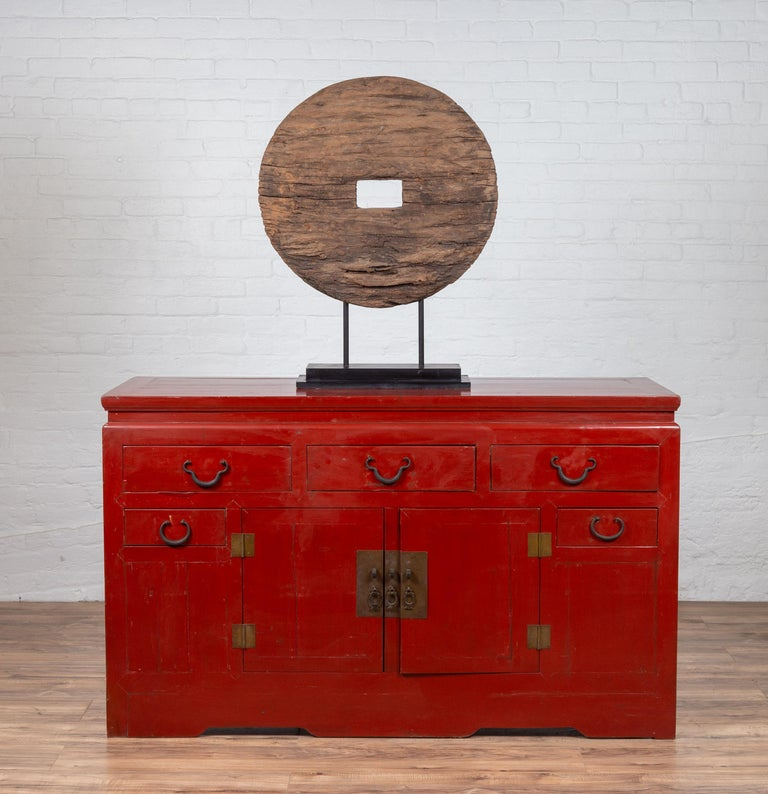 Chinese Ming Dynasty Style Red Lacquered Console Cabinet with Doors and Drawers For Sale 13