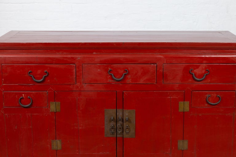 20th Century Chinese Ming Dynasty Style Red Lacquered Console Cabinet with Doors and Drawers For Sale