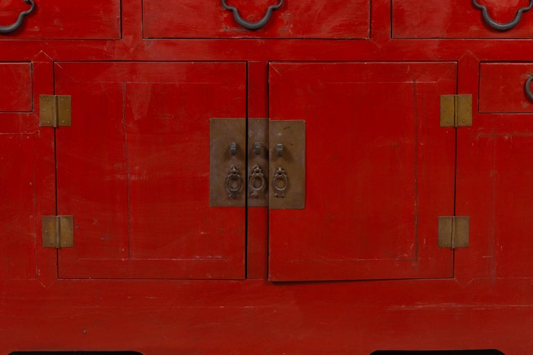 Wood Chinese Ming Dynasty Style Red Lacquered Console Cabinet with Doors and Drawers For Sale