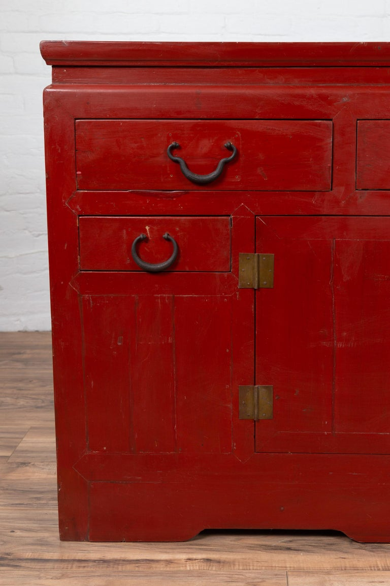 Chinese Ming Dynasty Style Red Lacquered Console Cabinet with Doors and Drawers For Sale 1