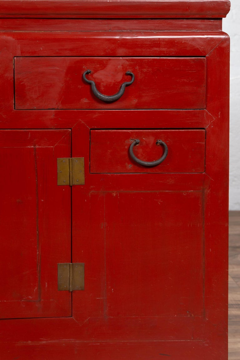 Chinese Ming Dynasty Style Red Lacquered Console Cabinet with Doors and Drawers For Sale 3
