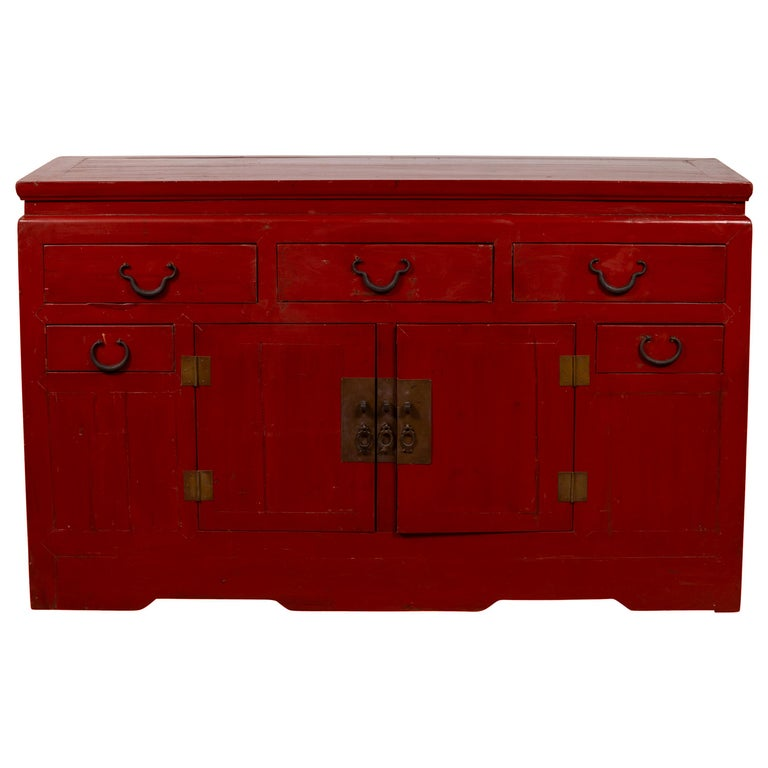Chinese Ming Dynasty Style Red Lacquered Console Cabinet with Doors and Drawers For Sale