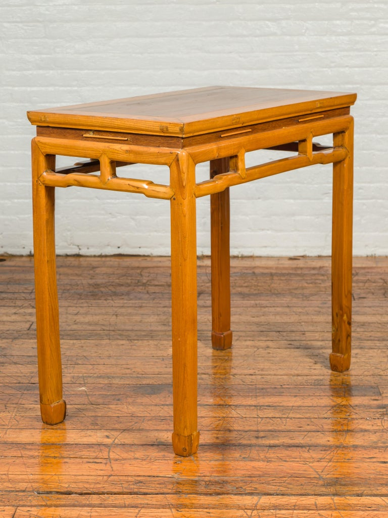 Chinese Ming Dynasty Style Vintage Elm Waisted Table with Humpbacked Stretcher For Sale 7