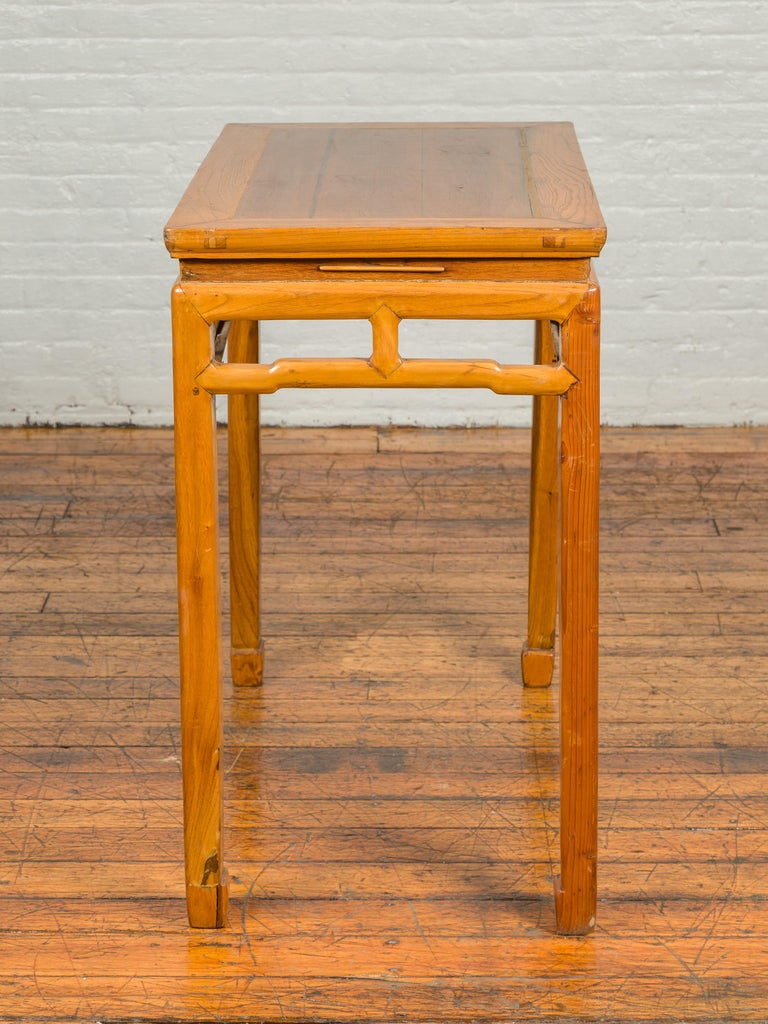 Chinese Ming Dynasty Style Vintage Elm Waisted Table with Humpbacked Stretcher For Sale 3