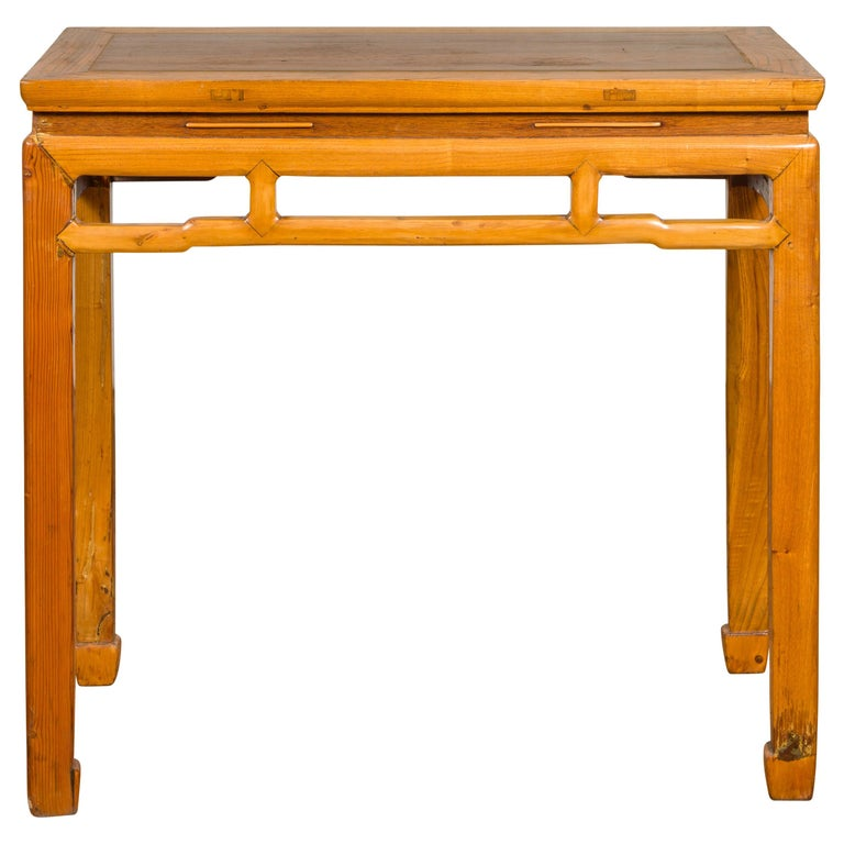 Chinese Ming Dynasty Style Vintage Elm Waisted Table with Humpbacked Stretcher For Sale