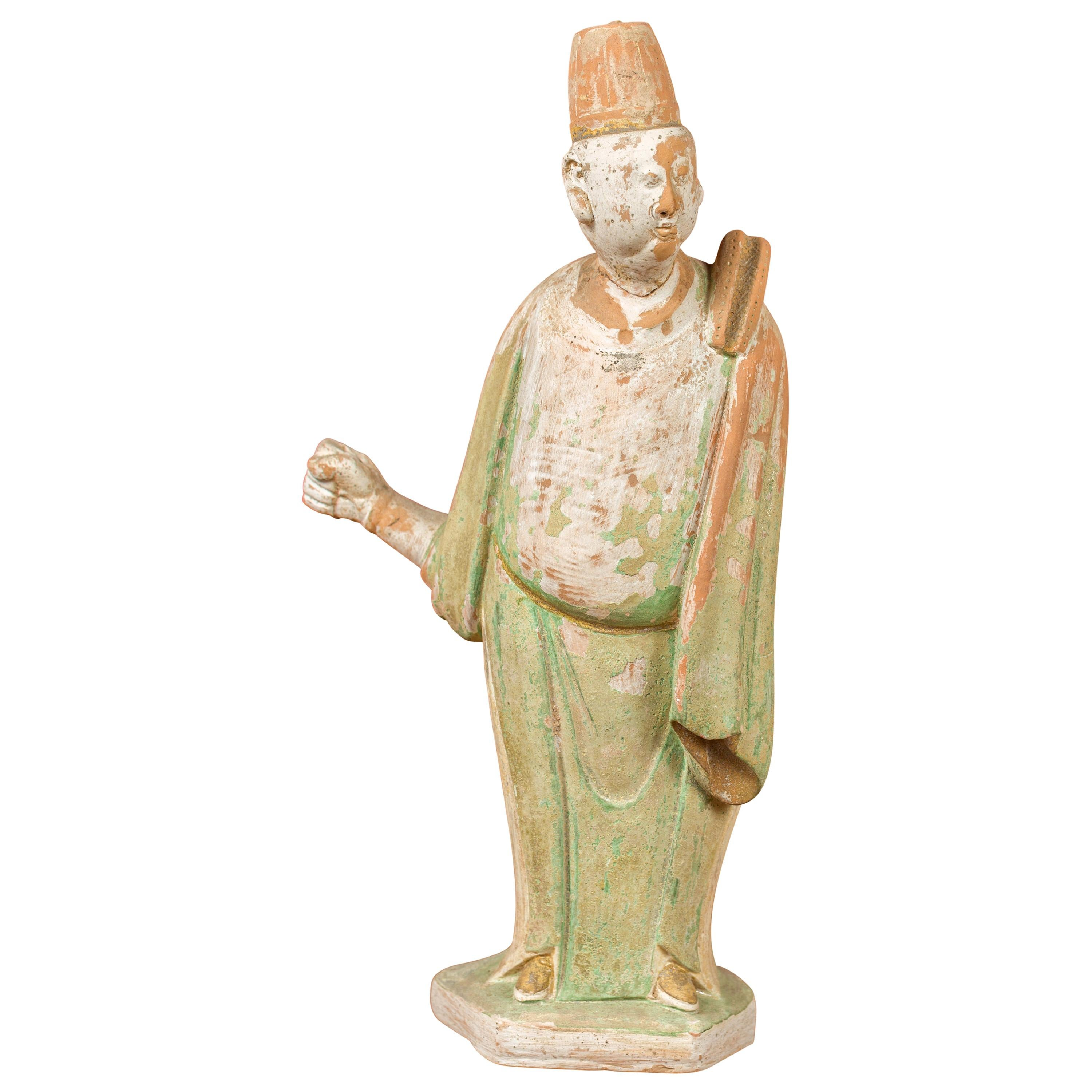 Chinese Ming Dynasty Terracotta Courtsman Statuette with Original Polychromy
