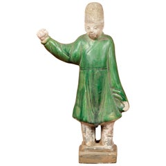 Chinese Ming Dynasty Terracotta Official Statuette with Original Polychromy