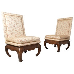 Chinese Ming James Mont Style Chinoiserie Occasional Chairs Having Chong Legs