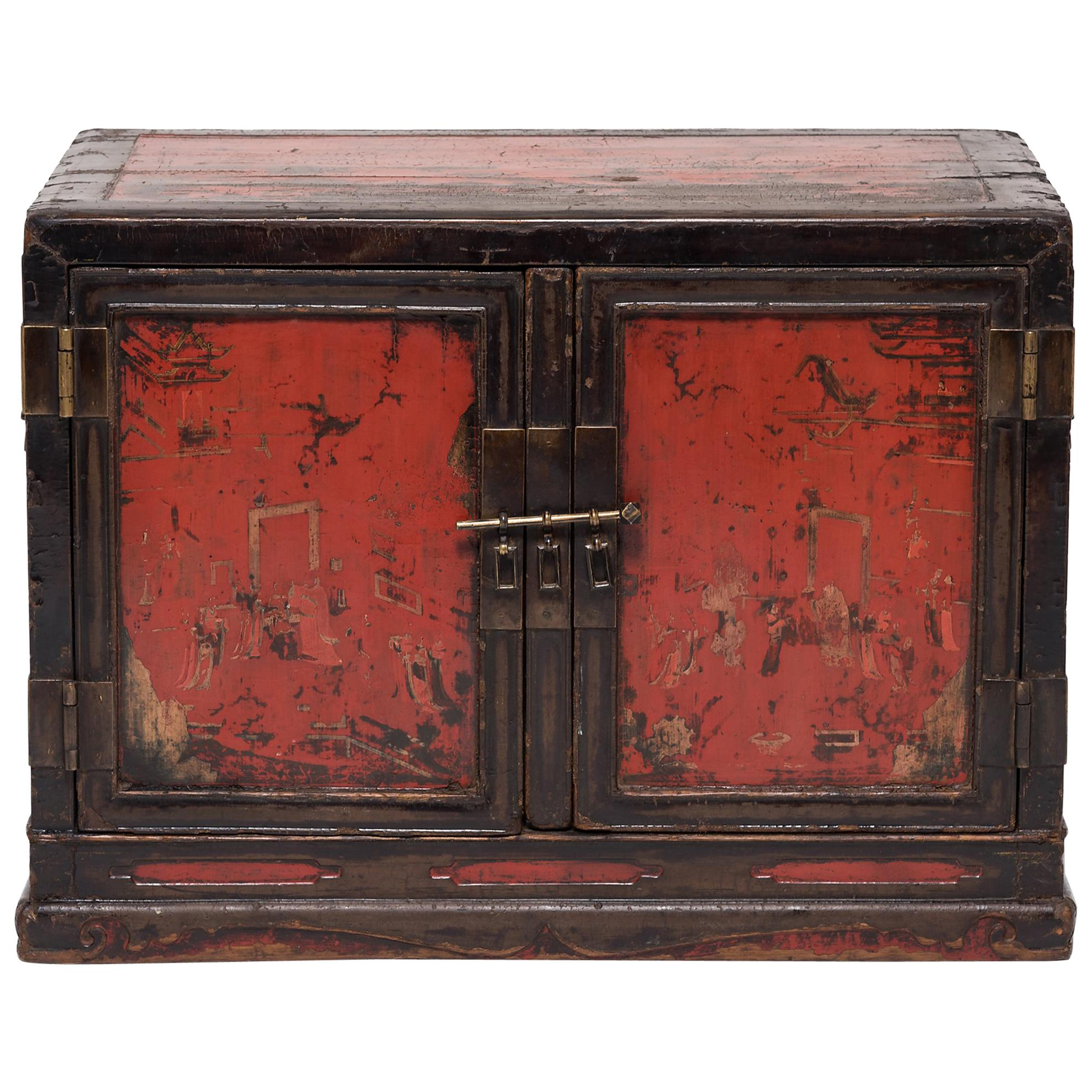 Chinese Ming Painted Book Cabinet