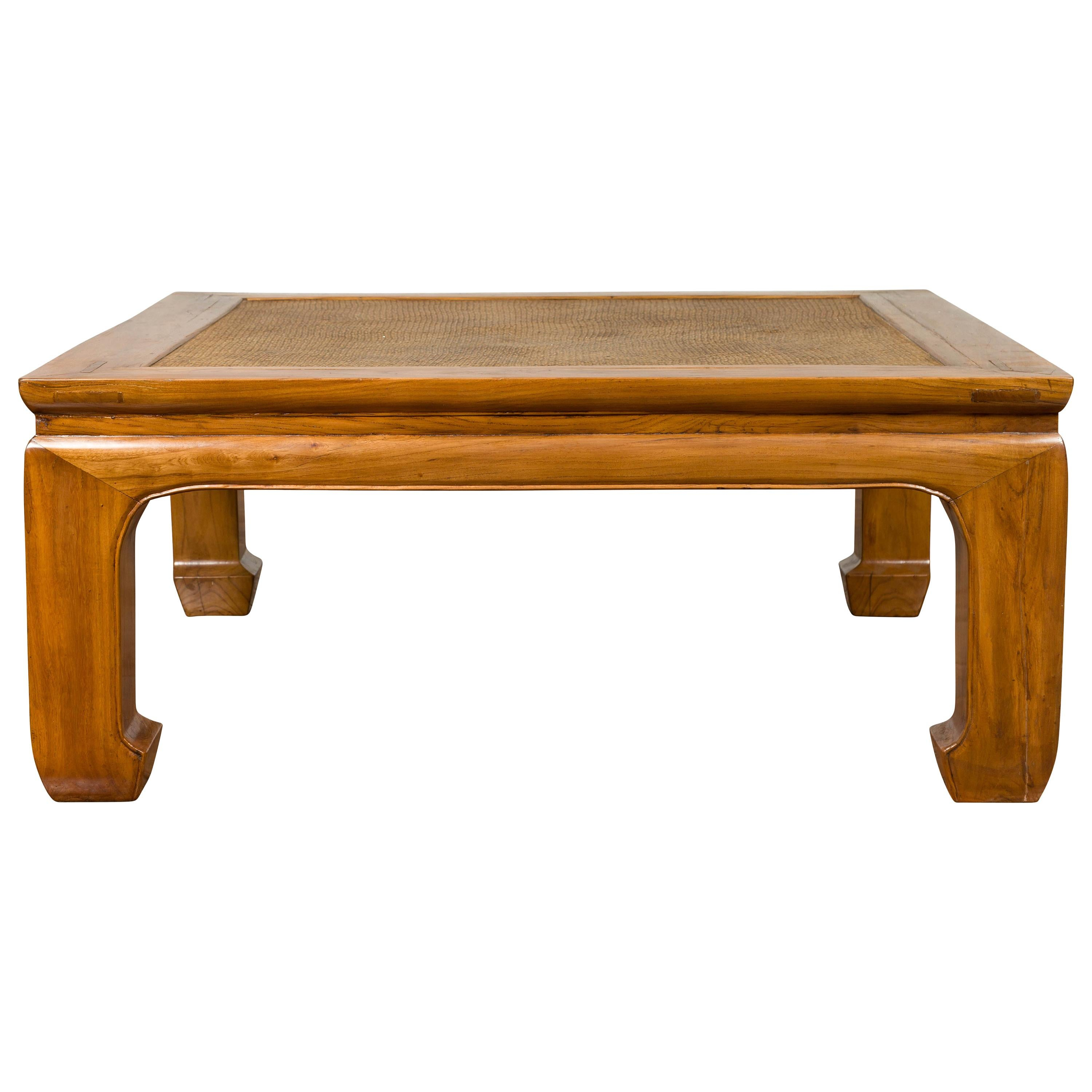 Chinese Ming Style 19th Century Elm Coffee Table with Rattan Inset and Chow Legs