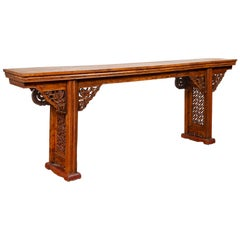 Chinese Ming Style Altar Console Table with Bird-Carved Spandrels and Fretwork