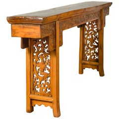 Chinese Ming Style Altar Table with Foliage Carved Frieze and Open Fretwork