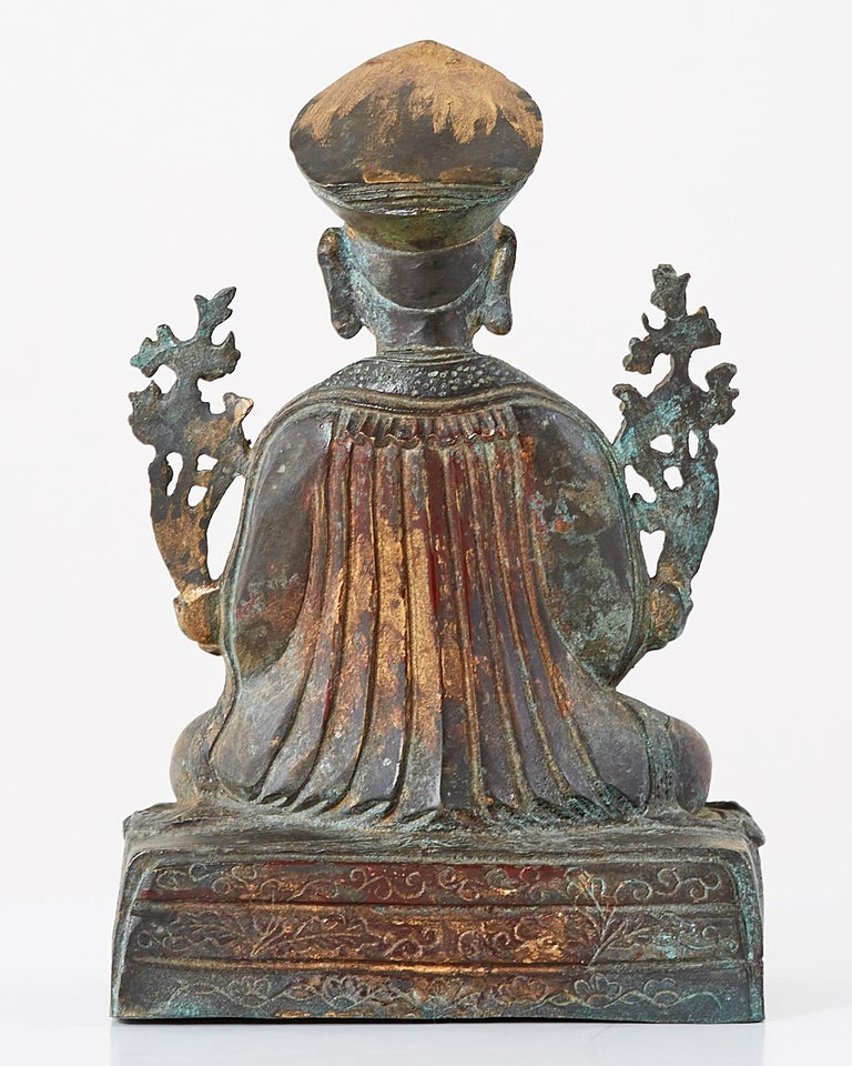 Chinese Ming Style Bronze Metal Seated Buddha For Sale 7
