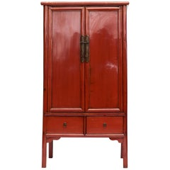 Chinese Ming Style Cabinet with Original Red Lacquer, 1840-1860