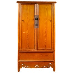 Chinese Ming Style Elm Wardrobe with Two Doors, Hidden Drawers and Carved Skirt