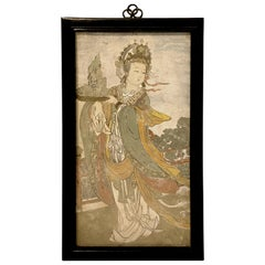 Chinese Ming Style Painted Fresco Mural Fragment, Early 20th Century, China