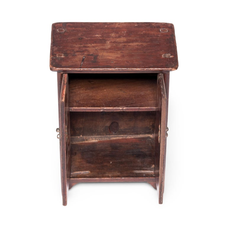 Brass Chinese Miniature Noodle Cabinet For Sale