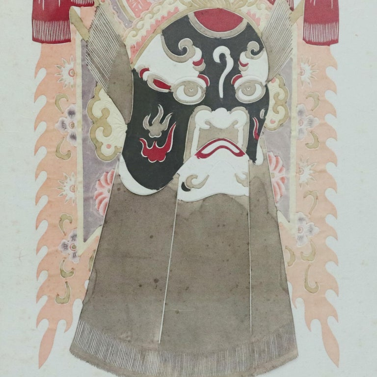 Chinese Mixed Media Print of Ceremonial Deity Mask, 20th Century In Good Condition For Sale In Big Flats, NY
