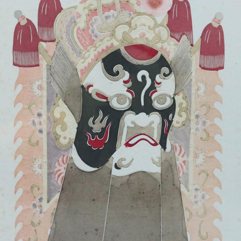 Metal Chinese Mixed Media Print of Ceremonial Deity Mask, 20th Century For Sale
