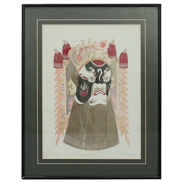 Chinese Mixed Media Print of Ceremonial Deity Mask, 20th Century For Sale