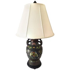 Japanese Monumental Bronze Enamel Architectural Table Lamp