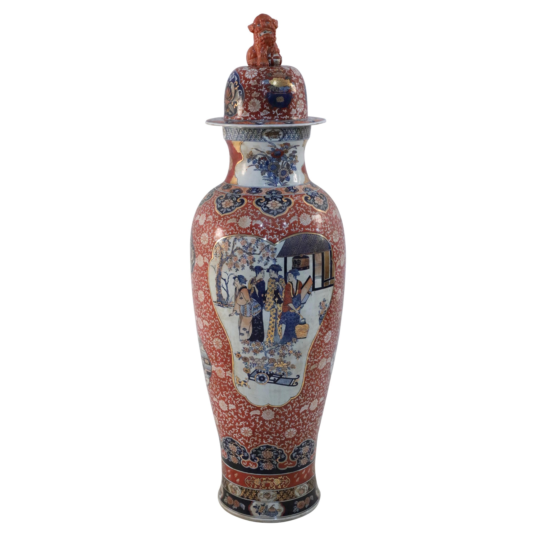 Chinese Monumental Imari-Style Figurative Scene Lidded Urn