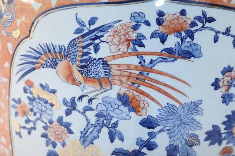 Chinese Monumental Imari-Style Lidded Light Orange Porcelain Urn For Sale 5