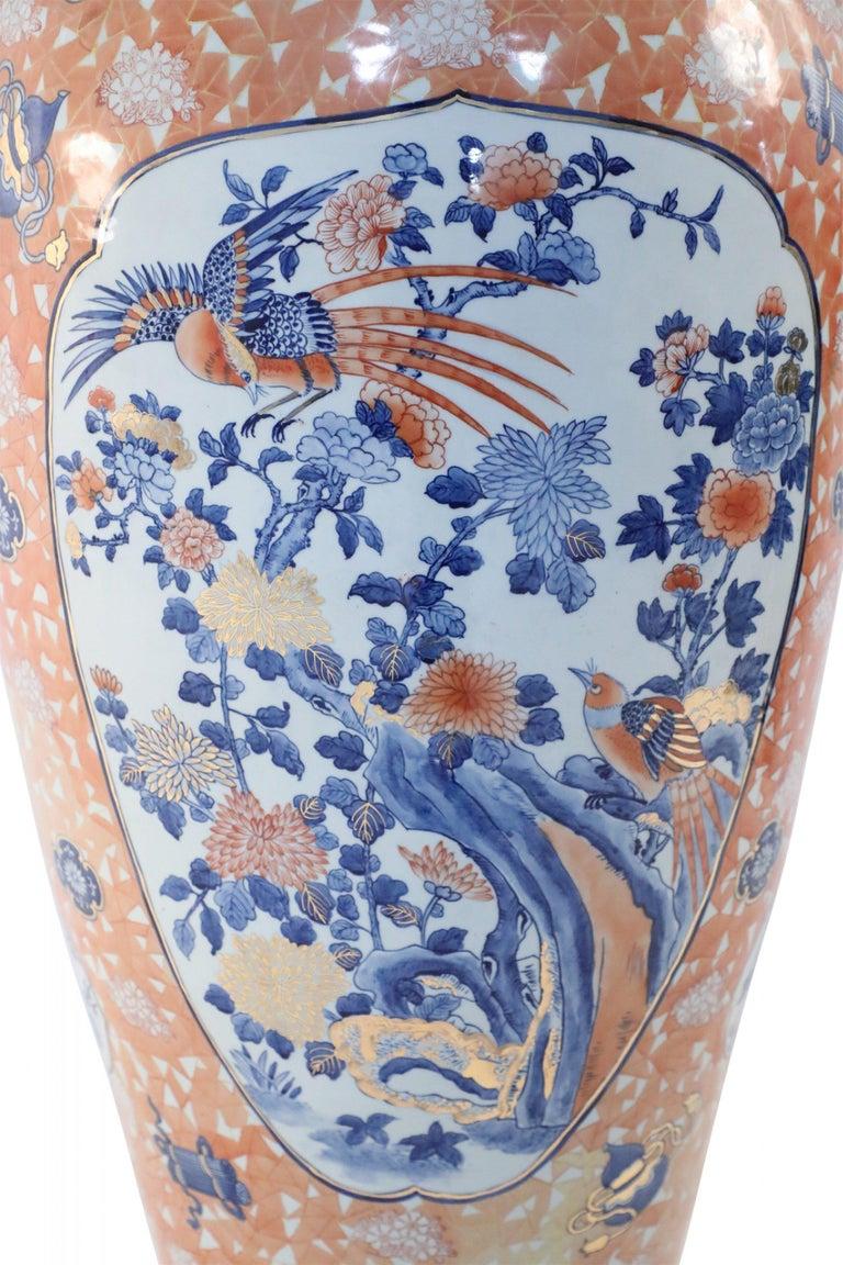 Chinese Monumental Imari-Style Lidded Light Orange Porcelain Urn For Sale 6