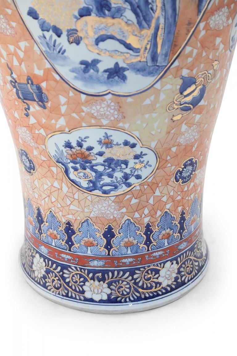 Chinese Monumental Imari-Style Lidded Light Orange Porcelain Urn For Sale 7