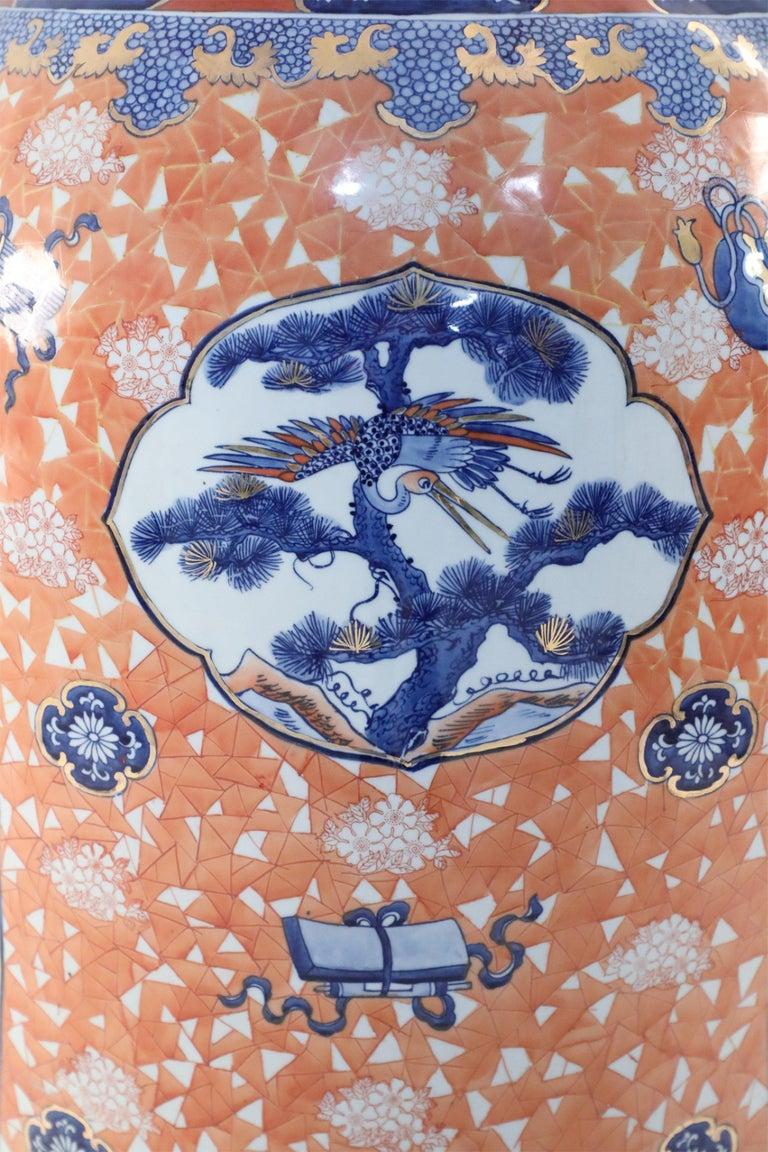 20th Century Chinese Monumental Imari-Style Lidded Light Orange Porcelain Urn For Sale