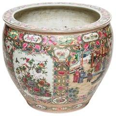 Chinese Monumental Porcelain Fish Bowl or Jardinière