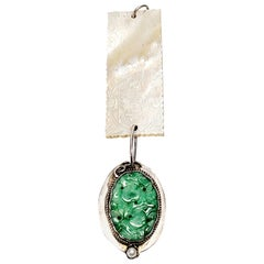 Chinese Mother of Pearl Gaming Chip and Carved Jade Pendant, Monogram