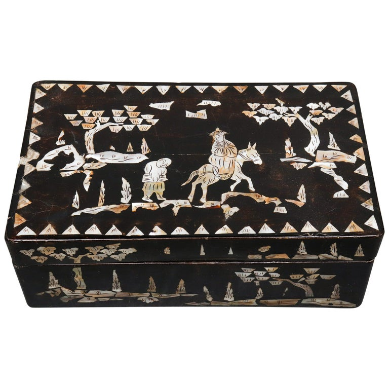 Chinese Mother of Pearl Inlaid Lacquered Box For Sale