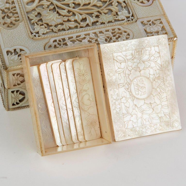 Late 18th Century Chinese Mother of Pearl Mounted Box with Four Boxes and Counters, 18th Century For Sale