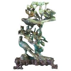 Chinese Mottled Green Jade Bird Grouping