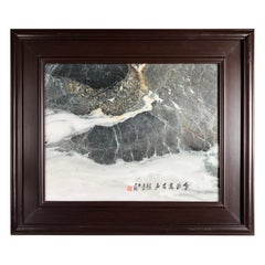"""Mountain Landscape Fishing Stream Extraordinary Natural Stone """"Painting"""""""