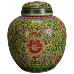 Chinese Mun Shou Enameled Covered Ginger Jar, Yellow Ground, 20th Century