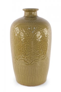 Chinese Mustard Colored and Tonal Patterned Meiping Porcelain Vase