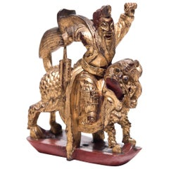 Chinese Mythical Gilt Figure with Divine Steed, circa 1850