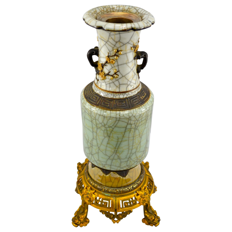 Chinese Nanking Period Crackle Glaze Celadon porcelain Vase with Bronze Base