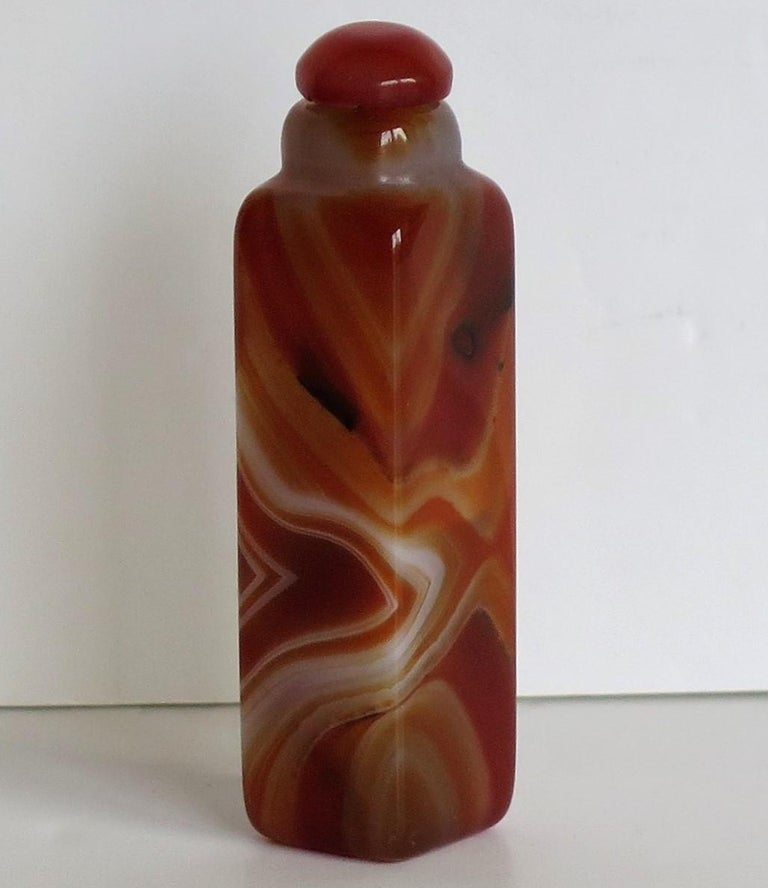 Chinese Natural Agate Stone Snuff Bottle Beautiful Striking Colors, circa 1930 For Sale 9